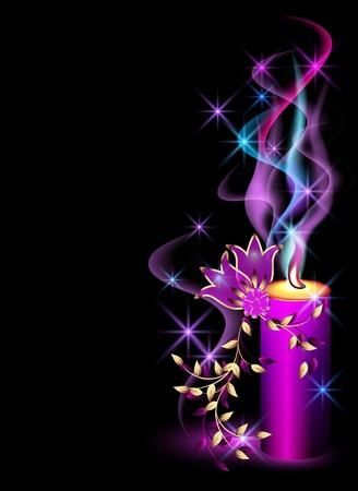 Brennende Kerze, Rauch, Sternen und Blumen Vektorgrafik