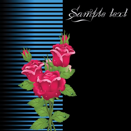 headline: Stylized card with roses and butterflies Illustration