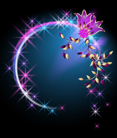 Glowing background with flowers and stars Stock Vector - 9932974