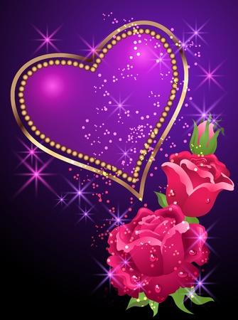 brillant: Gl�hend hintergrund mit goldenen Herzen, Rosen und Sternen bewertet