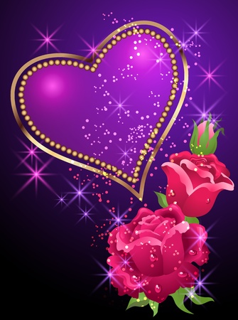 Glowing background with golden heart, roses and stars Vector