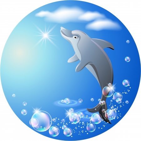 Dolphin leaps from water on the background of clouds Vector