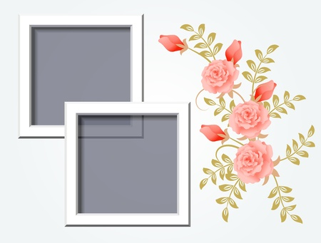 Page layout photo album with roses  Иллюстрация