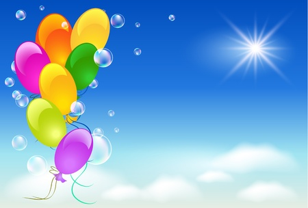 Ballonnen, hemel, zon en wolken