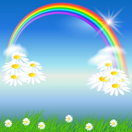 Camomiles, rainbow and blue sky Illustration