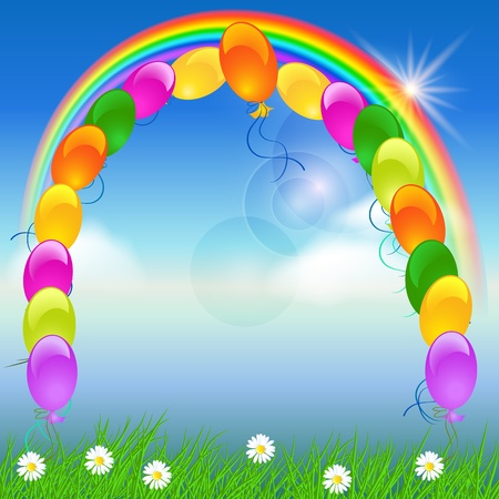 Balloons, rainbow and blue sky Stock Vector - 9932964