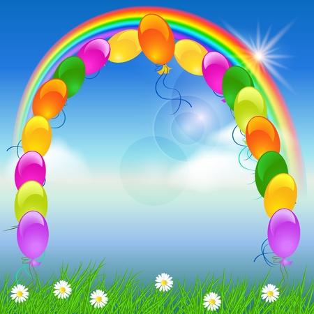Balloons, rainbow and blue sky Vector