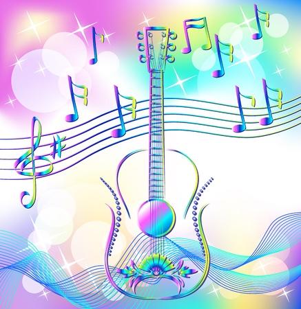 Magic music. Guitar. Stock Vector - 9932917