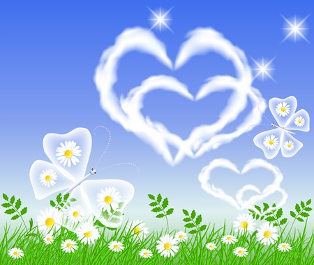 Butterflies and hearts clouds in the sky Vector