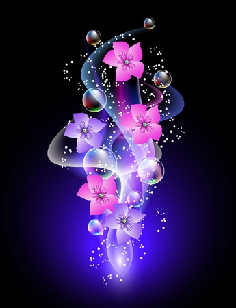 Glowing background with flowers, smoke and stars