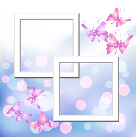 Page layout photo album with bokeh and butterfly Stock Vector - 9932913