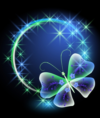Glowing background with butterfly and stars