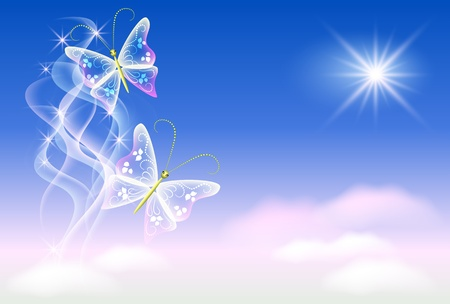 Sky, clouds, butterflies and  sunshine Vector