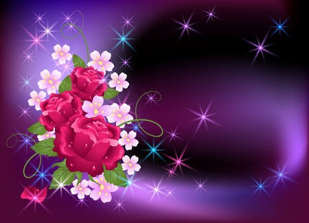 Glowing background with flowers and stars Vector
