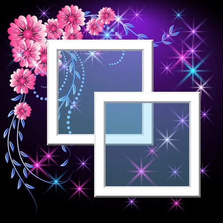 Page layout photo frame with flowers and stars Stock Vector - 9932940