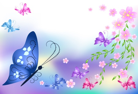 Floral background with butterflies for an insert of the text Stock Vector - 9932927