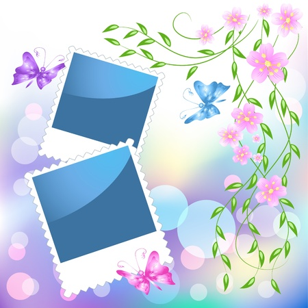 Page layout photo frame with flowers and butterflies Stock Vector - 9932925