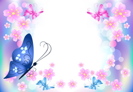 boke: Floral background with butterflies for an insert of the text