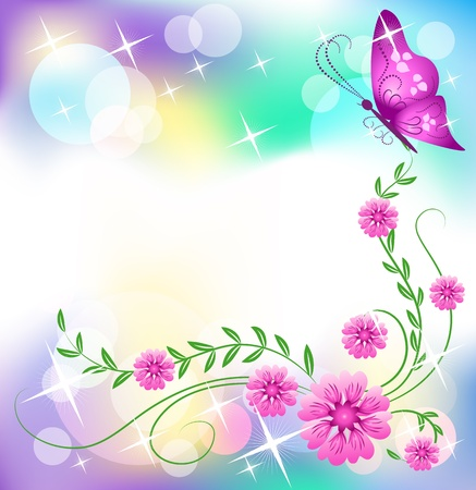 star border: Floral background with butterfly