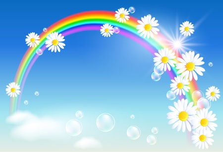 Rainbow, clouds and diasy Stock Vector - 9932938