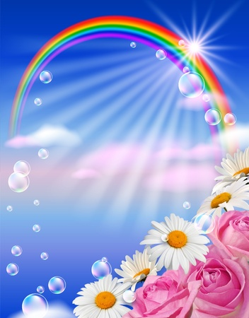 rainbow circle: White flowers, rainbow and bubbles against the sky