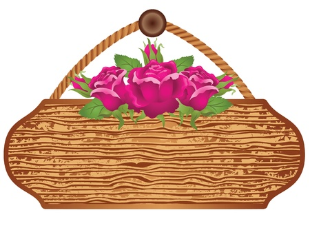 Wooden signboard with roses for text Stock Vector - 9932983