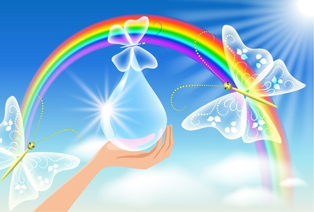 The hand holds a transparent butterfly against a rainbow. Symbol of environmental protection Illustration