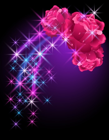 dewdrops: Glowing background with roses  and stars Illustration
