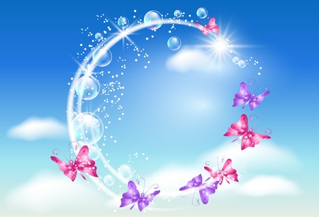 Butterflies swirling in the clouds Illustration