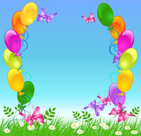 Meadow grass, sky, flowers and  balloons Vector