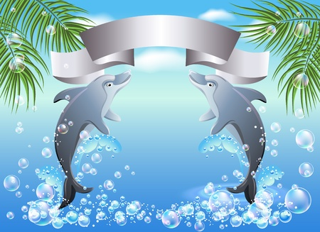Palm, dolphin  and ribbon against the backdrop of sea and sky Vector