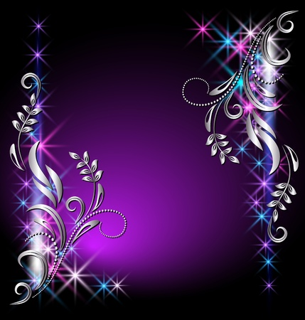 fantasia: Fondo brillante con estrellas y ornamentos de plata
