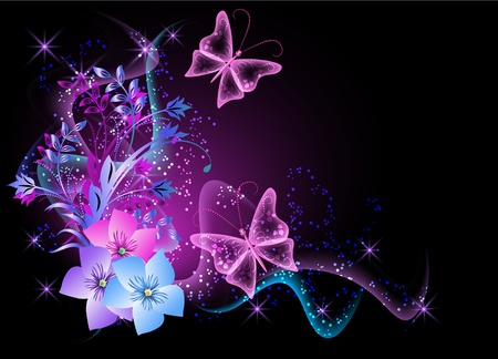 Glowing background with flowers, smoke and butterfly Vector