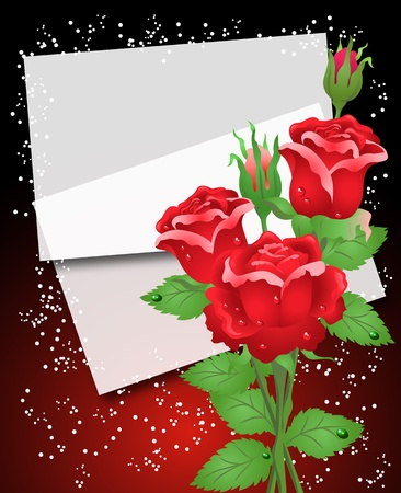 Background with roses and paper Stock Vector - 9932988