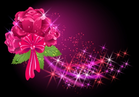 Glowing background with roses and stars Vector