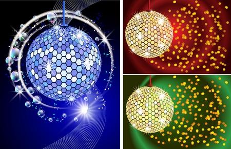 Celebratory backgrounds with diskoball Vector