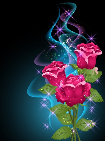 dewdrops: Glowing background with roses, smoke and stars Illustration