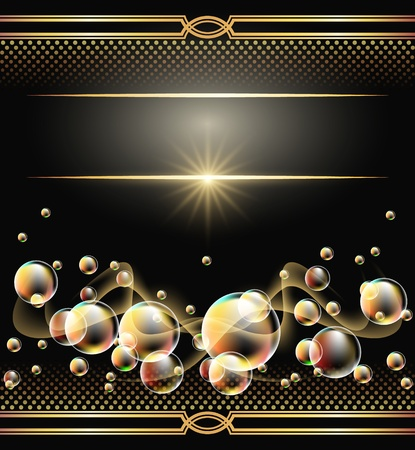 Background with bubbles, glowing star, golden ornament and smoke Stock Vector - 9933071