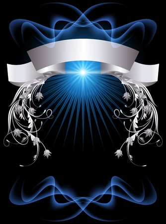 Background with glowing star and silver ornament
