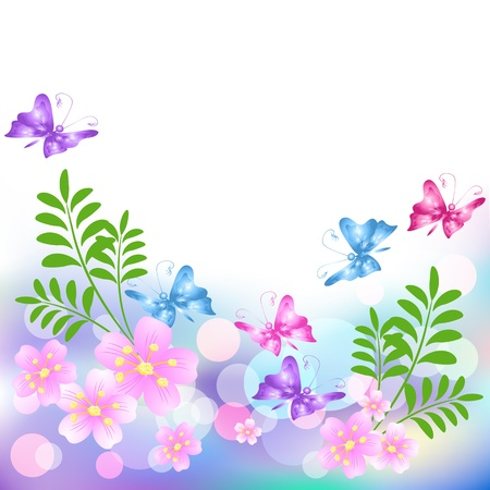 star border: Flowers background with butterfly