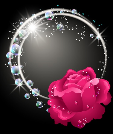 Glowing background with rose, bubbles and stars Stock Vector - 9933037
