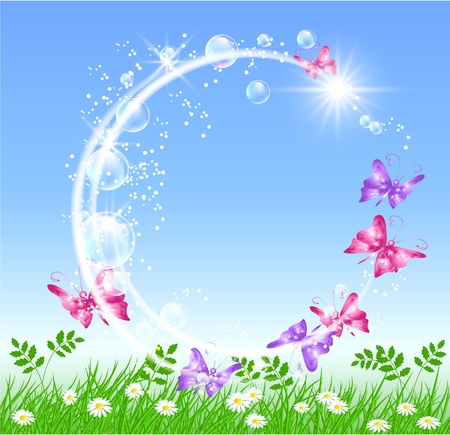 air bubble: Butterflies in the meadow and bubbles Illustration