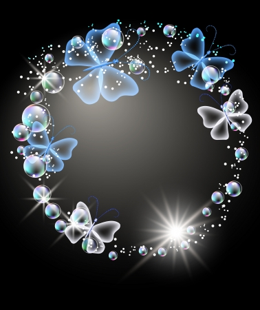 Glowing background with bubbles and butterfly Vector