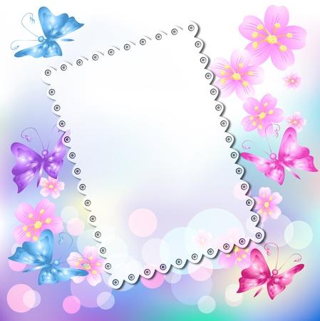 tovagliolo: Magico sfondo floreale con farfalla e un posto per il testo o le foto.