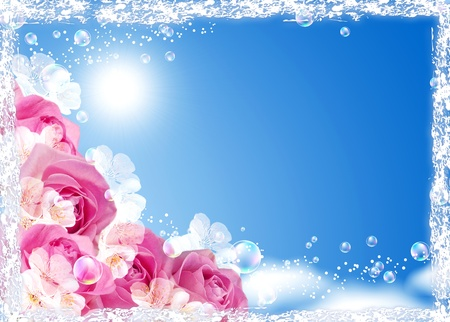 blue roses: Roses and bubbles against the sky   Stock Photo