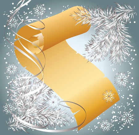 Christmas background with spruce branch and scroll parchment Vector
