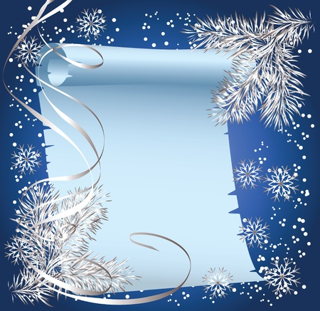 serpentine: Christmas background with spruce branch and scroll parchment