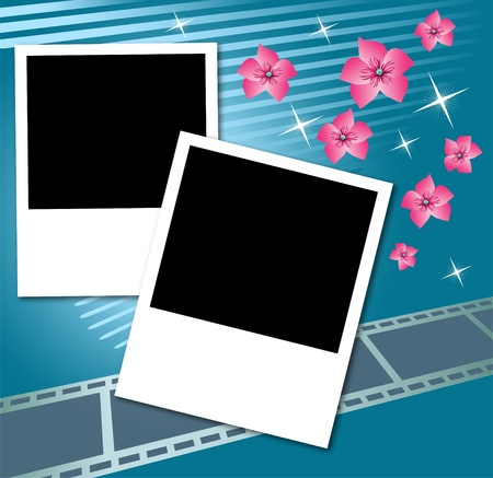 flower concept: Page layout photo album with flowers and filmstrip