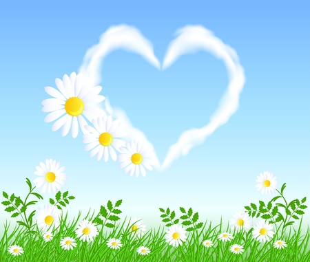 Camomiles with green grass and heart cloud in the sky Vector