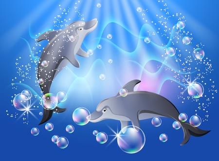 flippers: Dolphins swims in the water with air bubbles